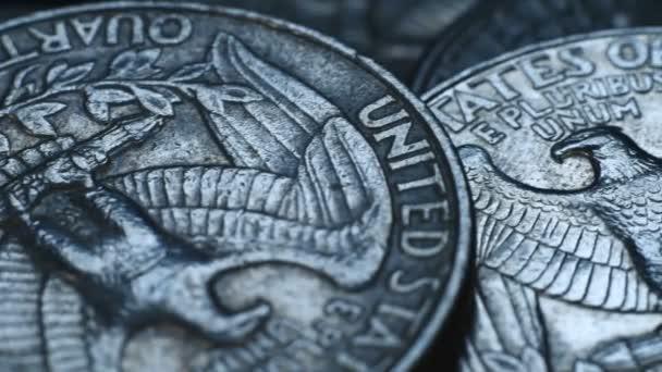 Pile of quarter United States dollar coins. Close Up