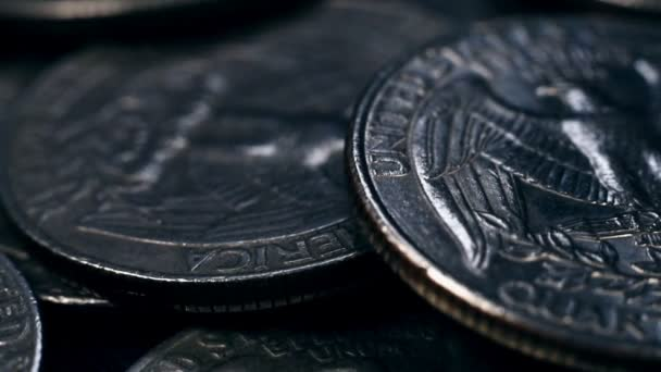 Close up detail on a United States quarter dollar coins.  finance and business concept