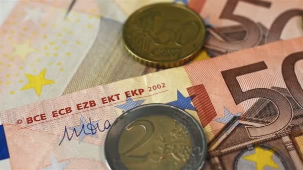 Extreme Close Up Many Euro Coins And Fifty Euro Bill. Close Up. Business Concept