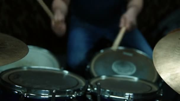Drummer Plays The Drum Set. Rock Concert. Repetition Of Rock Music Band