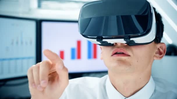 Businessman Using Virtual Reality Headset. Interactive Business Working Concept