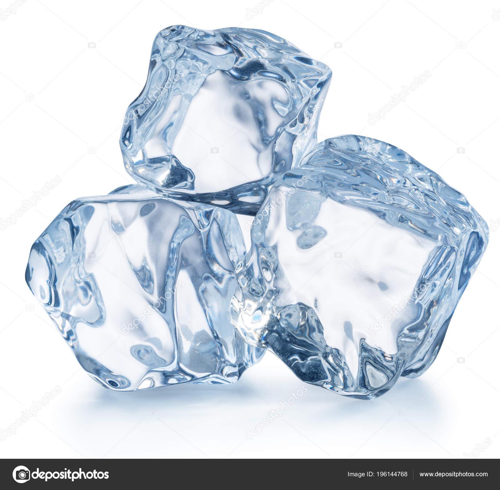 Three Ice Cubes Macro Shot Ice Cube Pyramid Clipping Path Stock