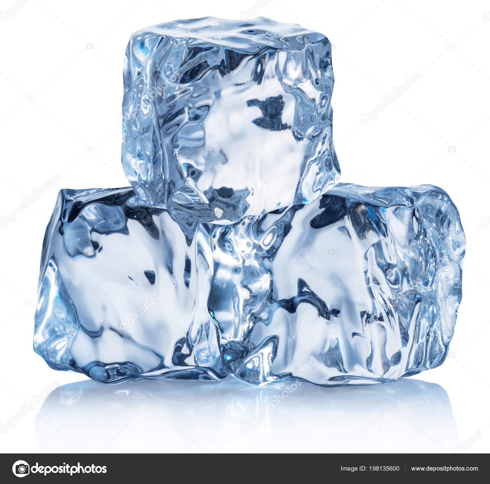 Three Ice Cubes Macro Shot Ice Cube Pyramid Clipping Path