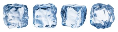 Set of four different ice cube faces. Macro shot of ice cubes. Clipping path.