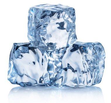 Three ice cubes. Macro shot of ice cube pyramid. Clipping path.