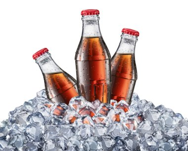 Bottles of Cola or Coke in the ice cubes.
