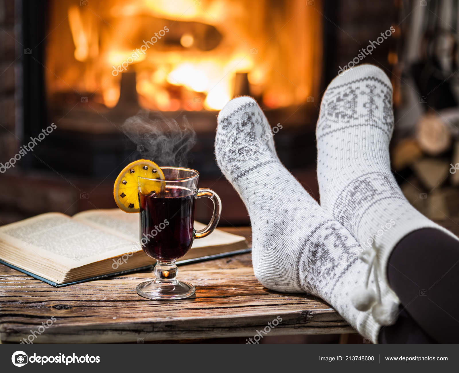 Warming Relaxing Fireplace Woman Feet Cup Hot Wine Front