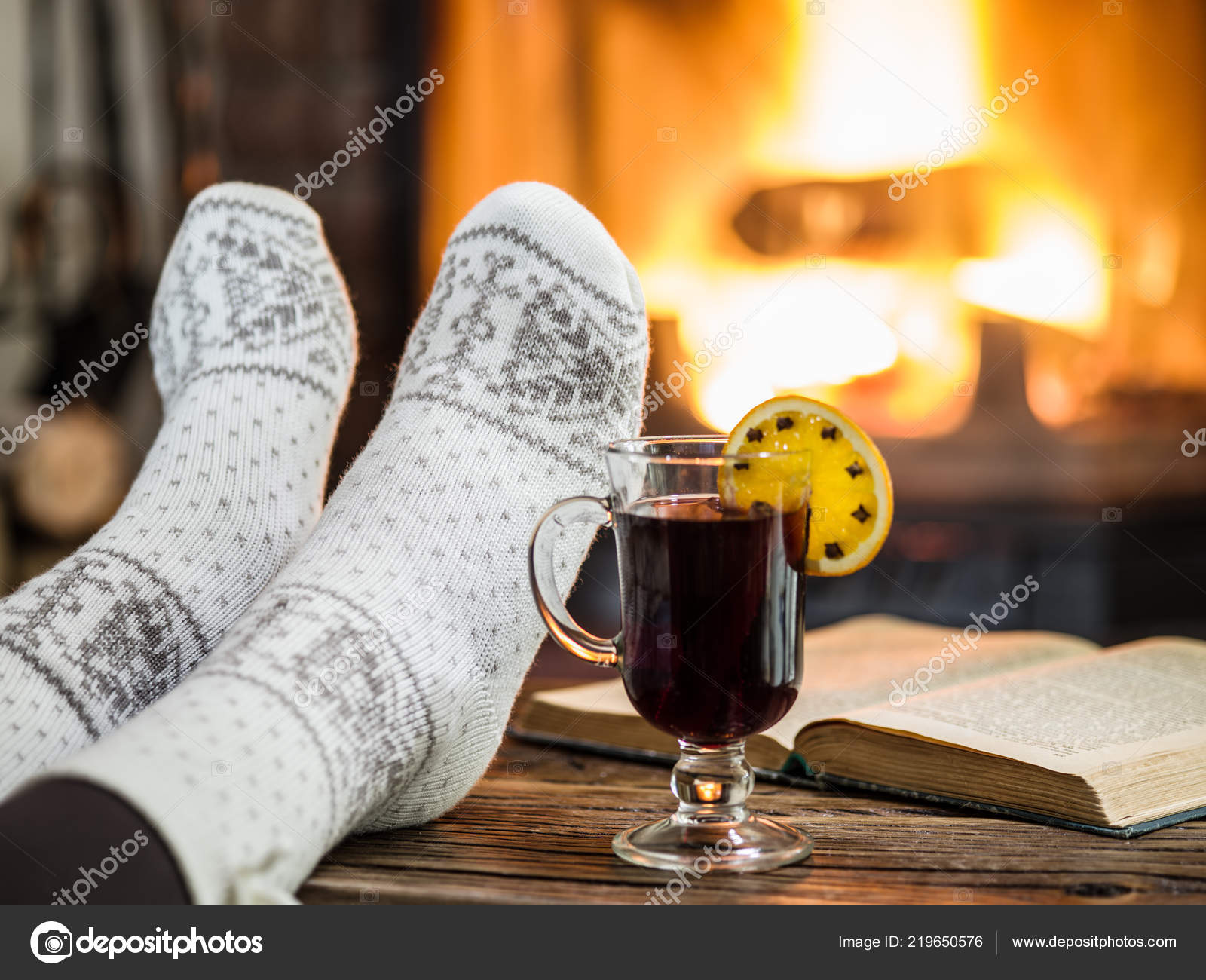 Warming Relaxing Fireplace Woman Feet Cup Hot Wine Book