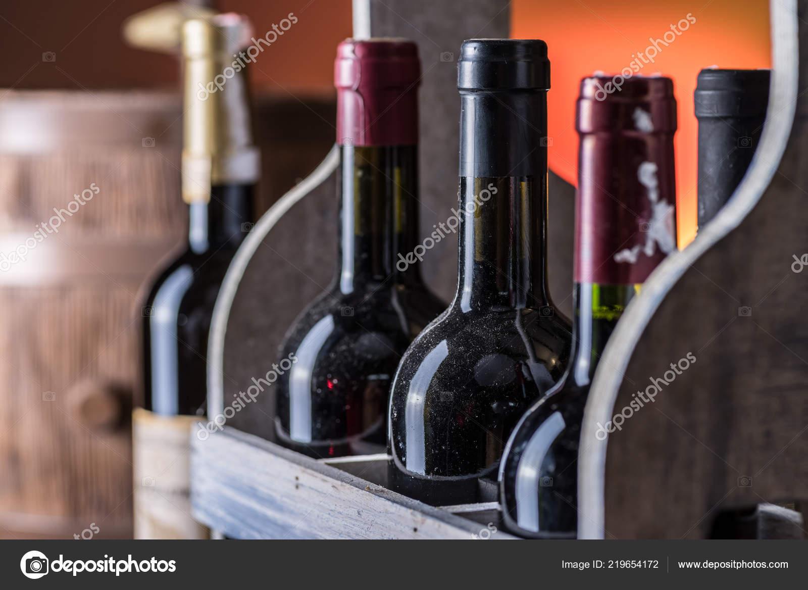 Wine Bottles Wooden Crate Oak Wine Keg Stock Photo