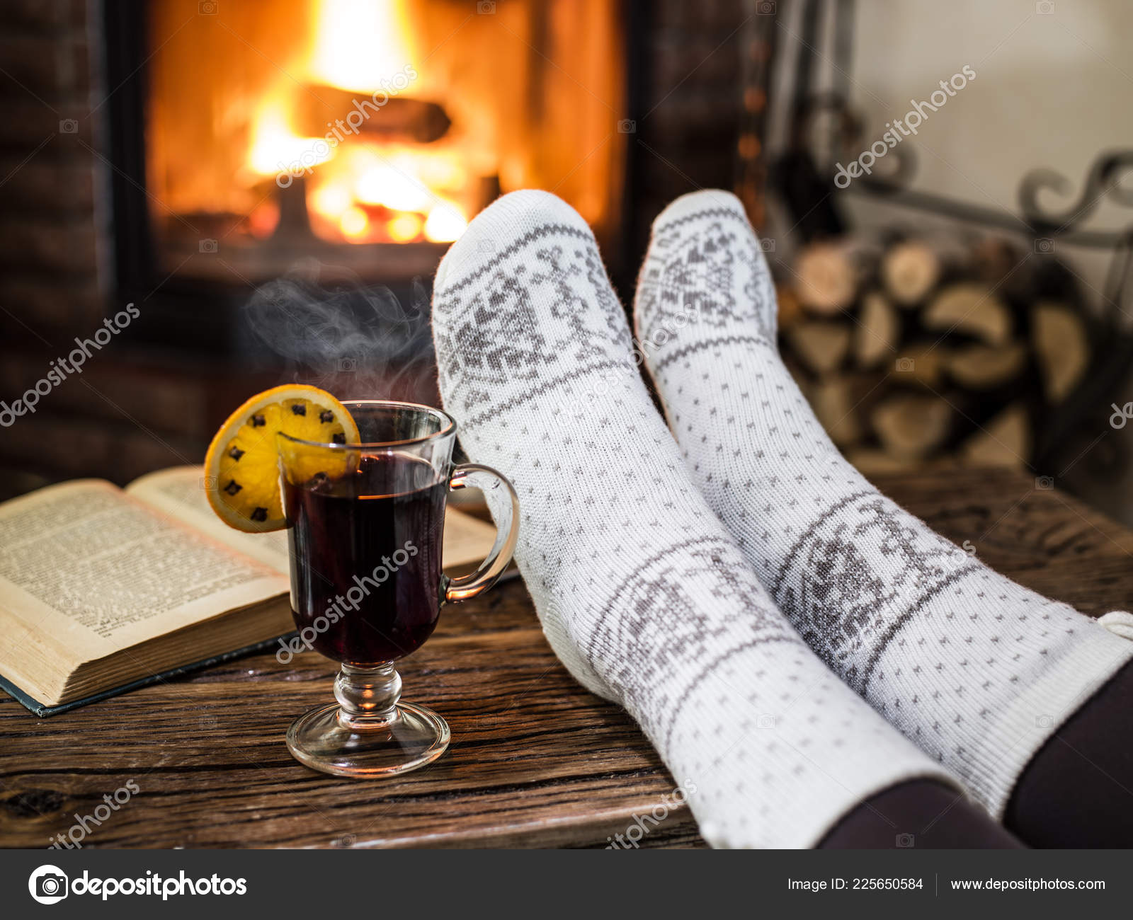 Warming Relaxing Fireplace Woman Feet Cup Hot Drink Front