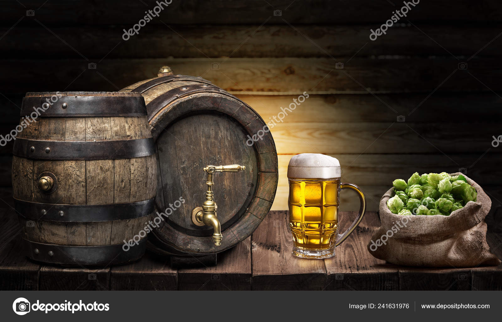Beer Mug Small Keg Beer Wooden Table Craft Brewery Stock Photo