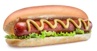Hot dog - grilled sausage in a bun with sauces on white backgrou