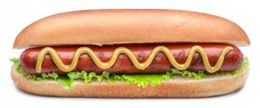 Hot dog - grilled sausage in a bun with sauces isolated on white