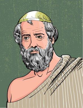 Plato portrait in line art illustration, vector