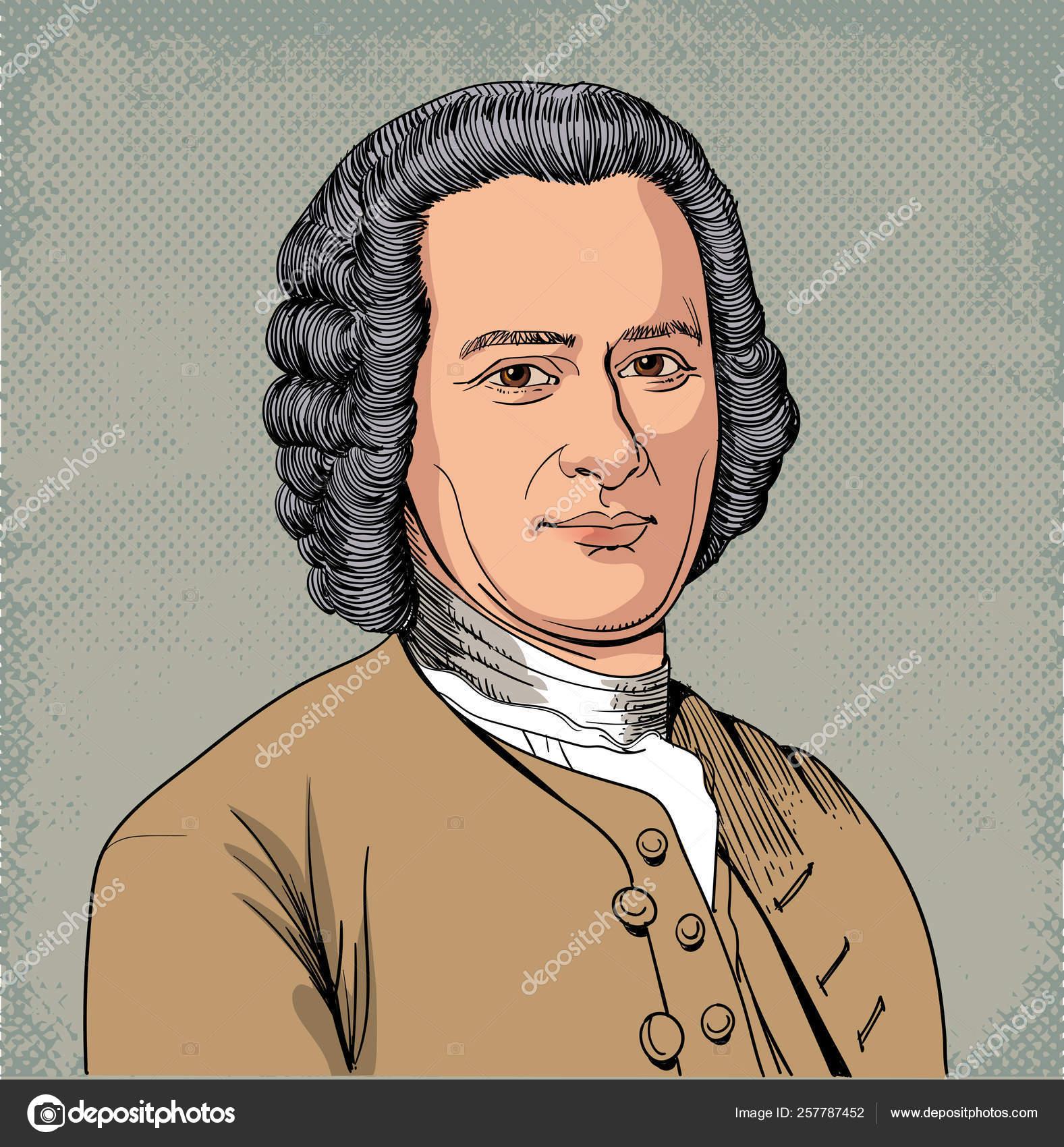 Jean Jacques Rousseau Portrait In Line Art Illustration