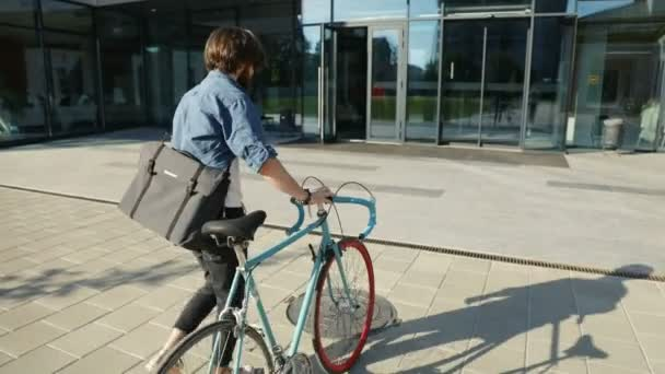 Man Comes to Work by Bike