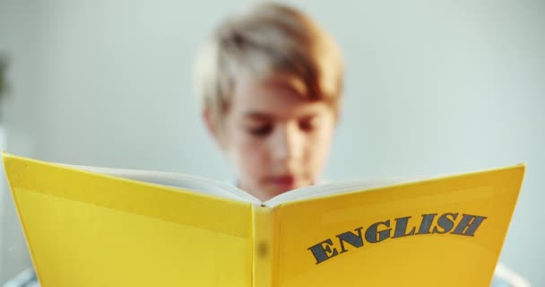 Boy Reading English Book Closeup ⬇ Video by © ProImageContent Stock Footage  #291220652