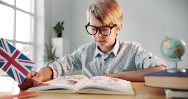 Boy Reading English Book