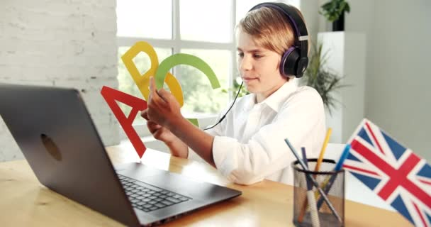 Boy Studying Letters Online Laptop