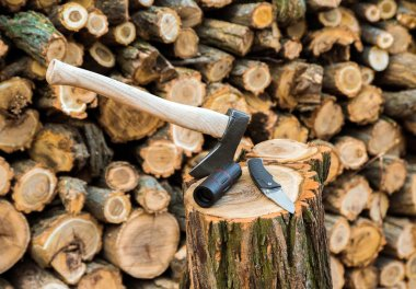 axe, monocle and jackknife case on the stump, firewoods on the background