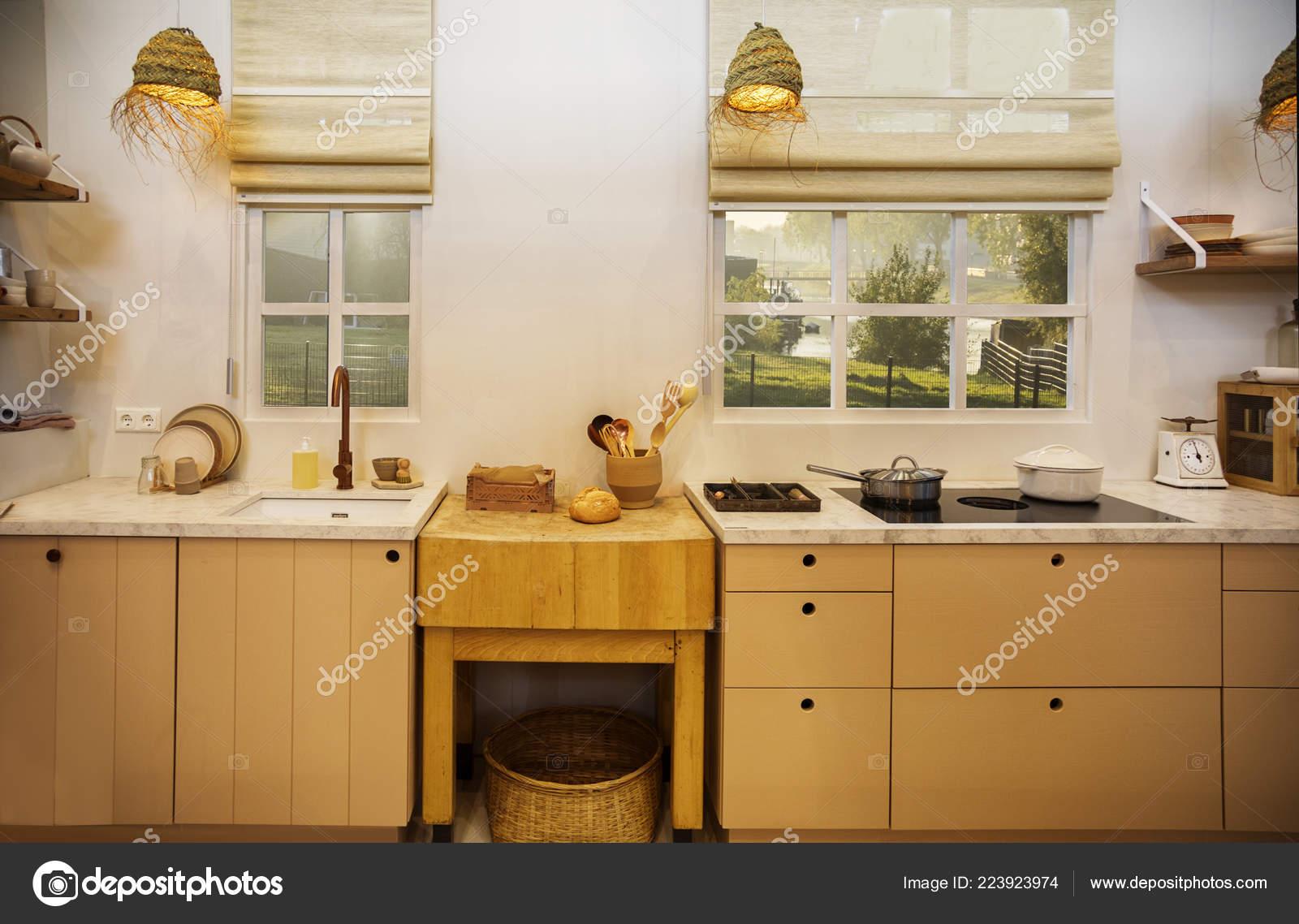 Detail Der Inneneinrichtung Aus Holz Küche Landhausstil Stockfoto