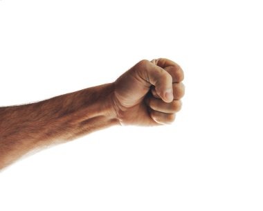 Male hand showing fist isolated on white background