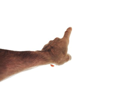 cropped shot of Male hand points the finger isolated on white