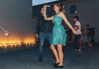 August, 4, 2018 - Minsk, Belarus: Man and woman dancing during event