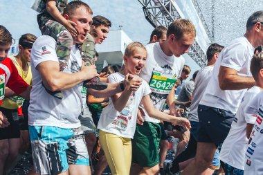 September, 9, 2018 - Minsk, Belarus: Half Marathon Minsk 2018, people running on road at start