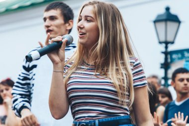 September 1, 2018 Minsk Belarus Street festivities in the evening city