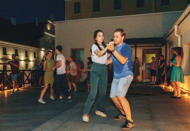 August 4, 2018 Minsk Belarus Street festivities in the evening city