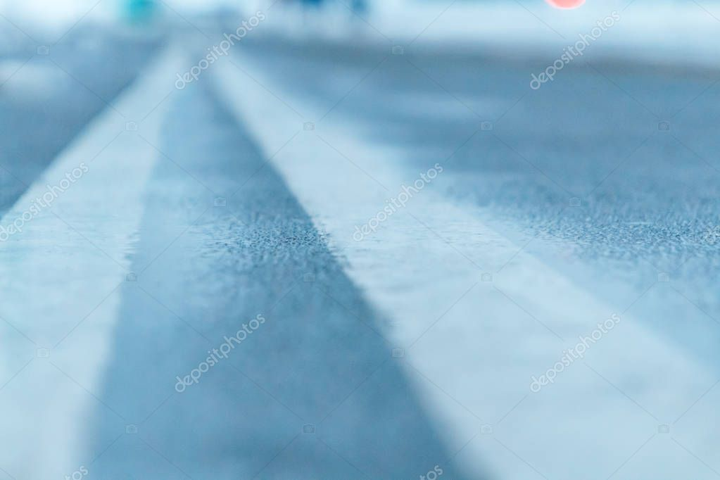 Bicycle and running track in winter close-up in city
