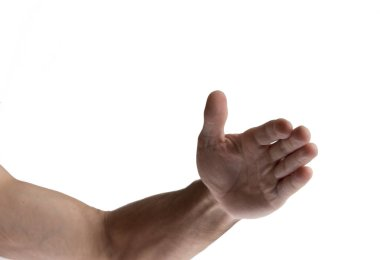 cropped shot of male hand gesturing isolated on white