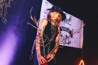 October 28-29, 2017 - Minsk, Belarus: Art space, Top Party dedicated to HALLOWEEN, young woman in costume on traditional Halloween party