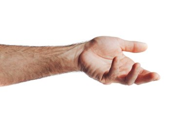 Use a hand gesture as a symbol of taking something by handled with quietly.