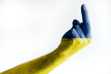 A mature male's hand painted in the colors of the Ukrainian flag shows a sign. Isolated on white background.