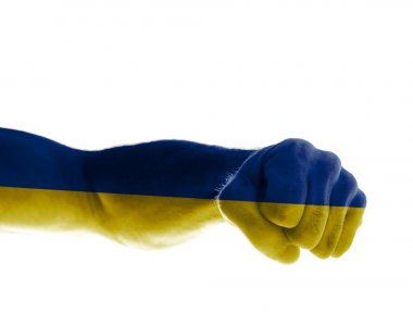 The hand of a mature man painted in the colors of the Ukrainian flag shows a fist