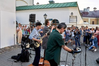 June 1, 2019 Festivities in the city on the day of Swedish culture Three musicians play at a street concert