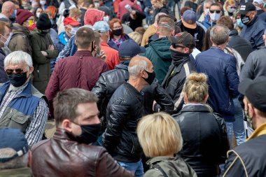May 24 2020 Minsk Belarusian people walk down the street