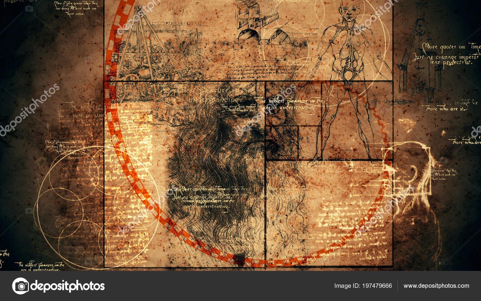 Una Ilustración Retra Del Código Vinci Con Hombre Vitruvio Que ...