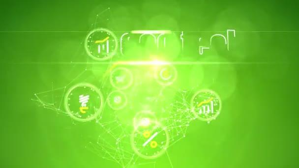 3D vykreslování eco tech myšlenek přináší příjmy, kruhy na zeleném pozadí