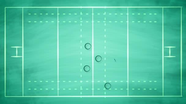 3D vykreslování pole sport pro americký fotbal, pokryté nuly a šipky, taktiky obrany hráčů