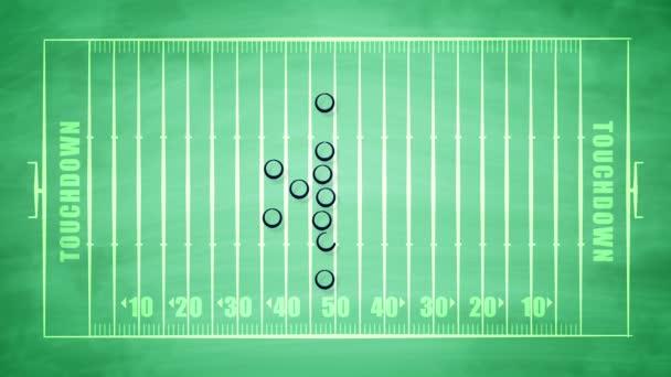 3D vykreslování pole zelené sport pro americký fotbal pokryté nuly, kříže a šipky, taktiku útoku hráčů pro touchdown