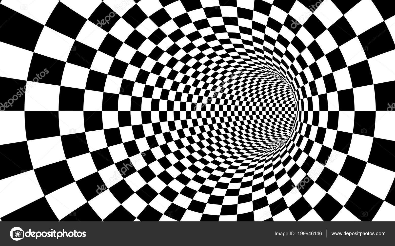 Mesmerizing illustration optical illusion created black