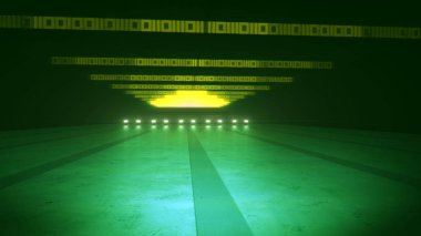 An original 3d rendering of yellow zeroes and ones placed in straight lines illuminating a subway tunnel in the dark green background. The sparkling yellow triangle is seen faraway