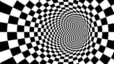A mesmerizing 3d illustration of an optical illusion created by black and white squares looking like a tunnel from chessboards creating the mood of magic and art.