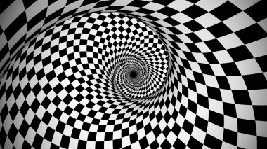An opt art 3d illustration of an optical illusion created by black and white squares forming a huge spiral from chessboards generating the spirit of enchantment and supernatural.