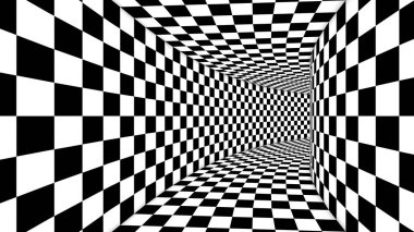 A spell binding 3d illustration of an optical illusion formed by black and white squares making a huge cubic tunnel from chessboards creating the magic and supernatural mood