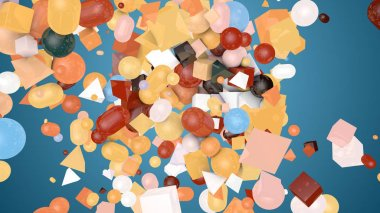 A retro 3d illustration of random shape teal background from colorful balls, squares, pills, lozenges, pyramids, cubes, falling down on a messy and chaotic stockpile.