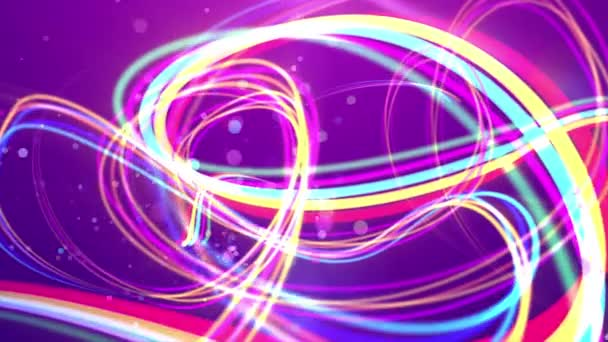 Působivé 3d vykreslování vícebarevný duhový tahů vytváření křivky otočí a smyčky v fialové pozadí. Některé bubliny vypadající skvrny létají mezi nimi. Pruhy se pohnout kupředu. Loopable
